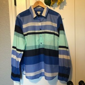 J. Crew Striped Cool Sea Colors Cotton Popover Top